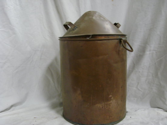 "19"" COPPER BUCKET W/ LID"