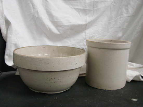 UNMARKED STONEWARE BOWL  & CROCK