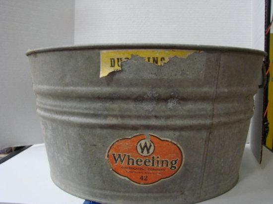 LARGE WHEELING GALVANIZED  WASH TUB