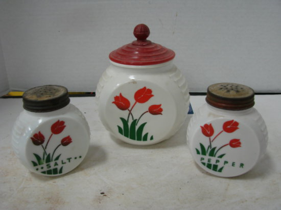 VINTAGE S&P SHAKERS W/ SMALL CANISTER - WHITE GLASS
