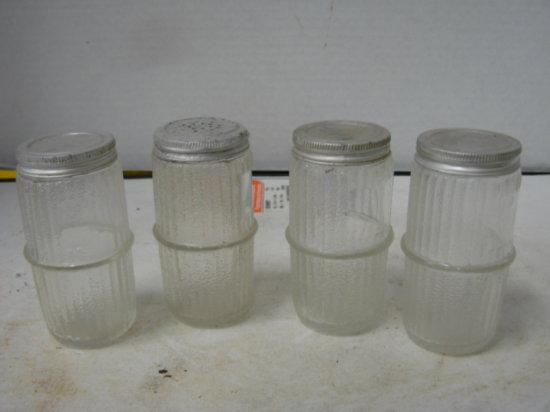 (4) VINTAGE GLASS SPICE JARS