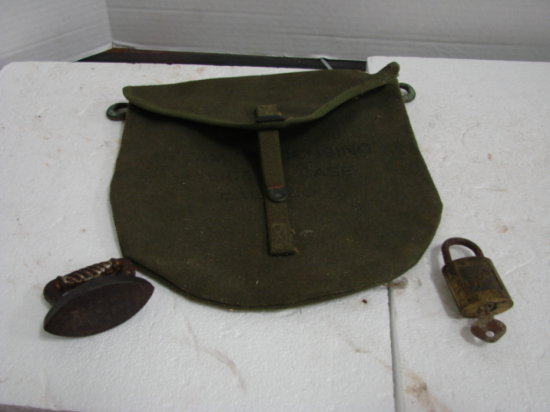 ARMY POUCH/BAG , SMALL TOY SAD IRON & SLAYMAKER LOCK