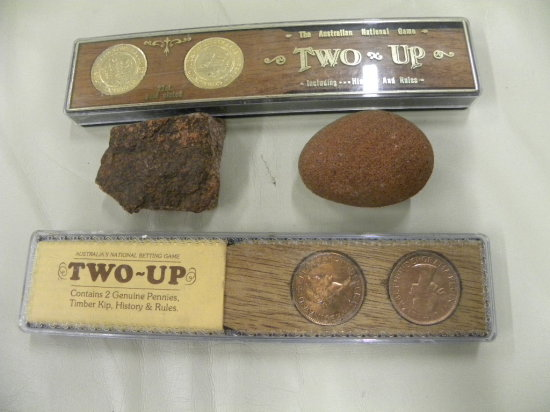 2 TWO-UP AUSTRALIAN NATONAL GAMES & 2 ROCKS FROM THE OUT-BACK