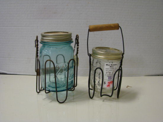 (2) VIINTAGE CANNING JAR CARRIERS W/ JARS
