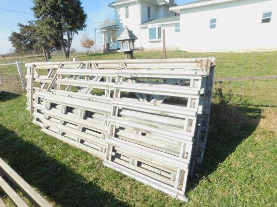 BULK LOT OF 6 VARIOUS SIZED GALVANIZED & ALUMINUM CATTLE & HOG GATES