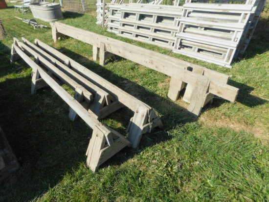 """(7) LOW PROFILE 12FT SAW HORSES - STAND APPROX 16"""" TALL"""
