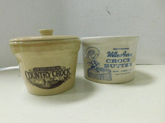 WILLOW FARMS & COUNTRY CROCK  STONEWARE BUTTER CROCKS,