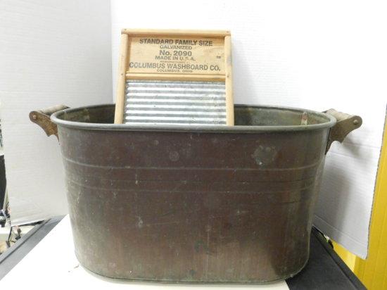 VINTAGE COPPER BOILER & GALVANIZED WASH BOARD