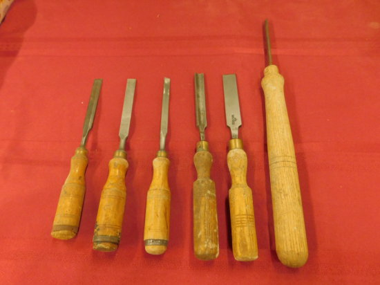 (6) VINTAGE WOOD LATHE TOOLS