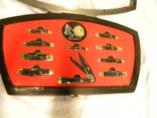 WIDOWMAKER BY STEEL WARRIOR 10 KNIFE SET IN DISPLAY CASE