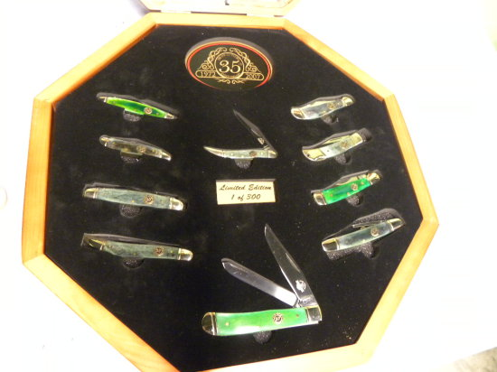 FROST CUTLERY 35TH ANNIVERSARY POCKET KNIFE SET IN OCTAGON DISPLAY