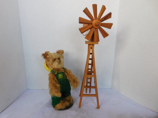WOOD MODEL WINDMILL & JOHN DEERE DOG IN BIBS