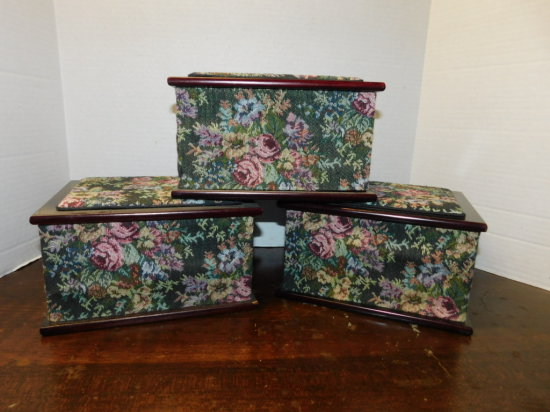 (3) tapestry cladd wood jewelry boxes