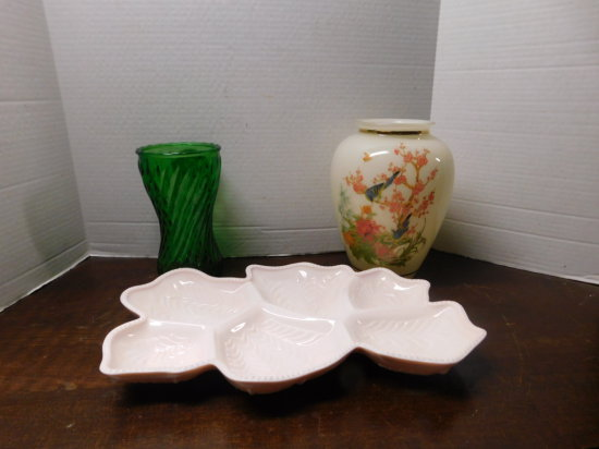 pink milk glass divided tray, hand painted vase & green vase