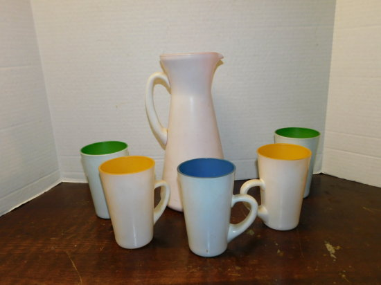 mid century glass pitcher & (5) matching cups