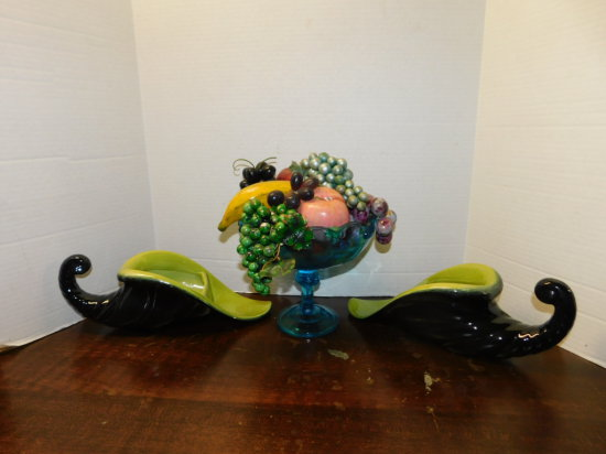 "(2) Cornucopia ""Horn of Plenty"" planters & blue glass footed fruit bowl"