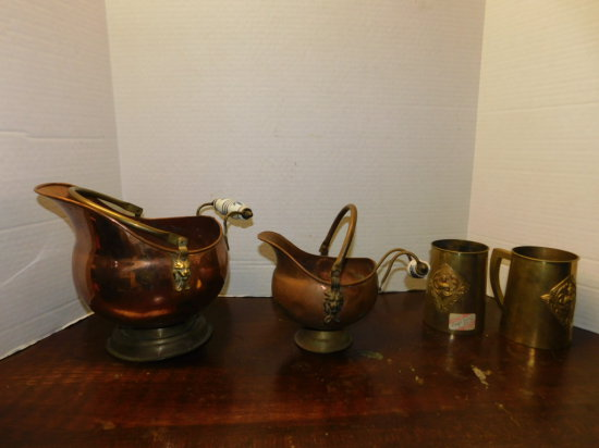 (2) copper planters & a pair of brass mugs