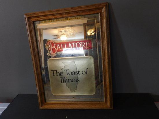 """BALLATORE """"THE TOASTOF ILLLINOIS"""" MIRROR IN WOOD FRAME"""