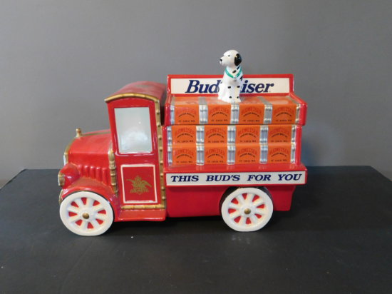 """BUDWEISER """"THIS BUD'S FOR YOU"""" COOKIE JAR TRUCK"""