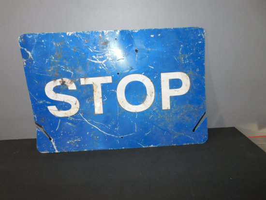 """RAILROAD DOUBLE SIDED SWITCH """"STOP"""" SIGN"""