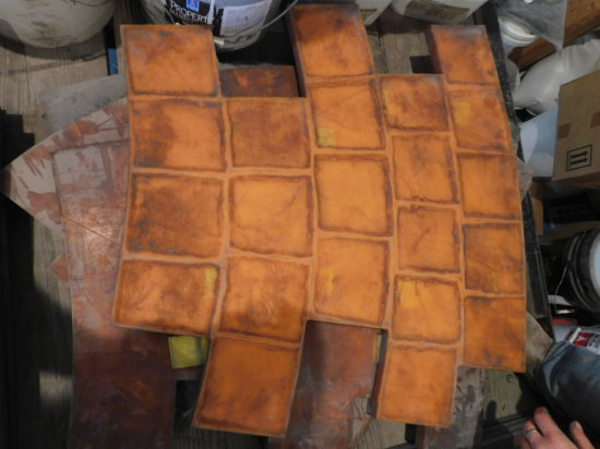 (6) flexible concrete stamps - circular pattern (patio)