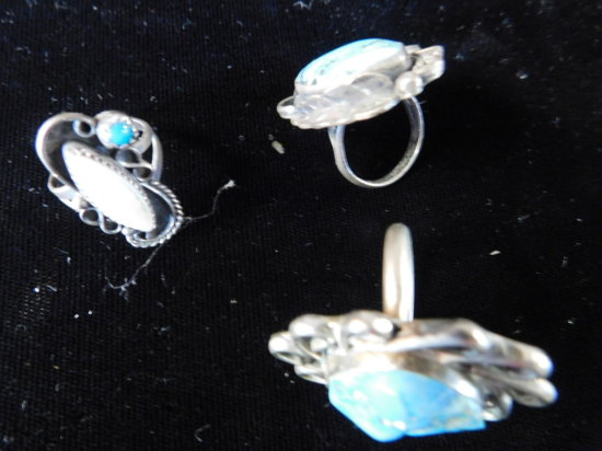 (3) TURQUOISE & STONE RINGS