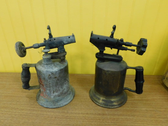 PAIR OF BRASS BLOW TORCHES