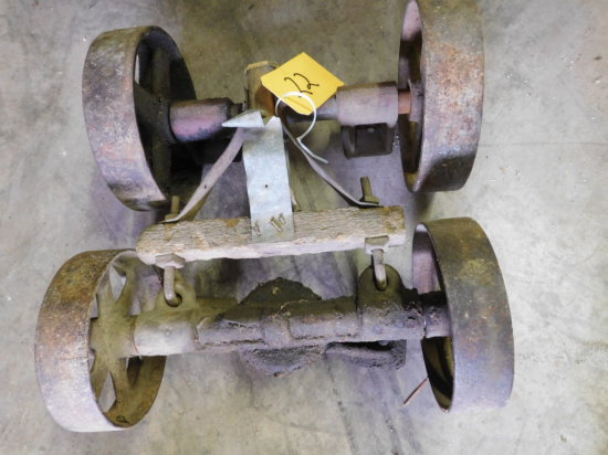 PAIR OF GAS ENGINE CART AXLES