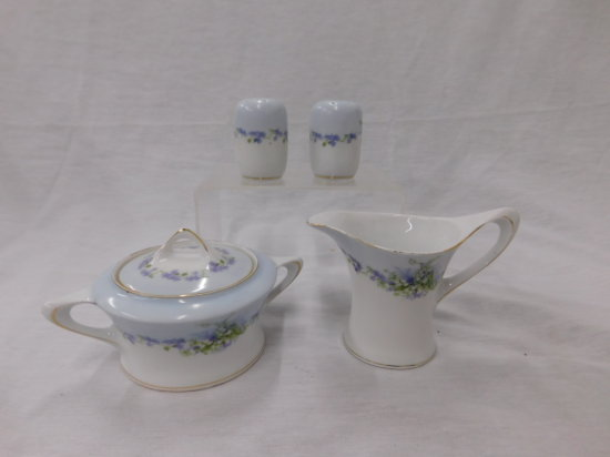 HUTSCHENREUTHER CHINA CREAM / SUGAR,  SALT & PEPPER - VIOLETS