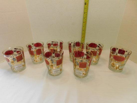 SET OF (8) DRINK RECIPE BAR GLASSES