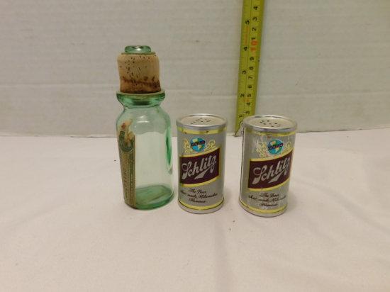 PR OF SCHLITZ BEER SALT & PEPPERS & GLASS WHISKEY BOTTLE STOPPER