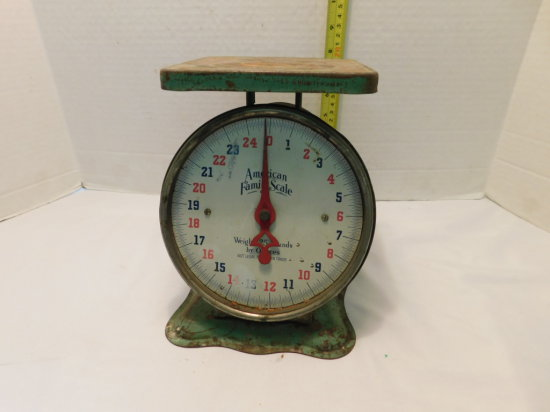 AMERICAN FAMILY SCALE 25# TIN KITCHEN SCALE