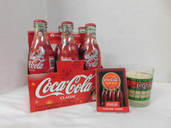 HOLIDAY 2003 COKE 6 PACK, COCA COLA CANDLE & DECK OF CARDS