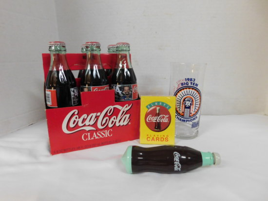 KYLE PETTY #44 COKE 6 PACK, ILLINI 1984 ROSEBOWL GLASS & DECK OF CARDS