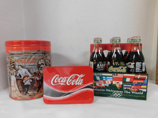 ATLANTA 1996 OLYMPICS 6 PACK OF COKE, TIN OF PLAYING CARDS, & ANOTHER TIN