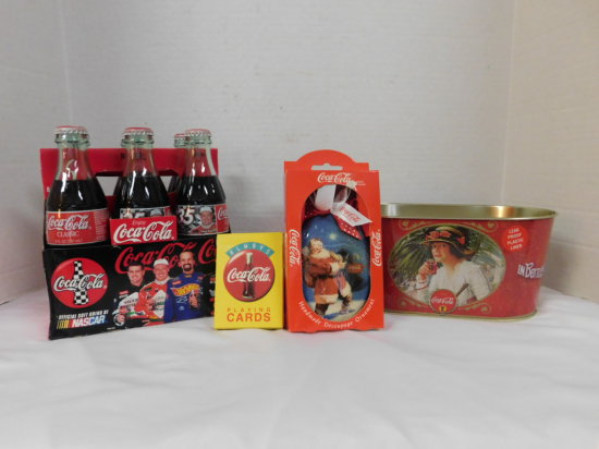 NASCAR 1998 COKE 6 PACK, DECK OF CARDS, CHRISTMAS ORNAMENT & AN ICE TIN
