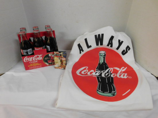 COCA COLA T-SHIRT, 1996 CHRISTMAS COKE 6 PACK & A DECK OF CARDS