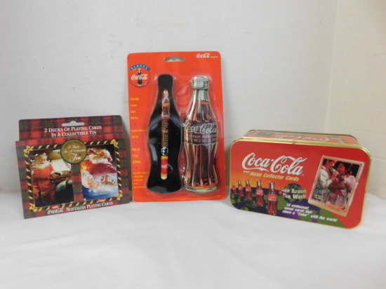 TIN OF COCA COLA METAL TRADING CARDS, TIN OF PLAYING CARDS & COKE INK PEN