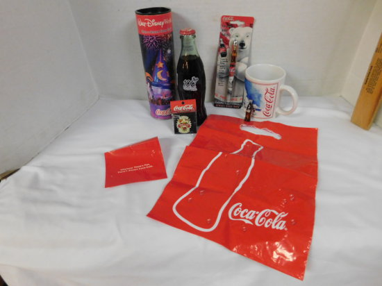 COCA COLA DISNEY 100 YRS OF MAGIC 8OZ BOTTLE W/ CONTAINER, COKE INK PEN