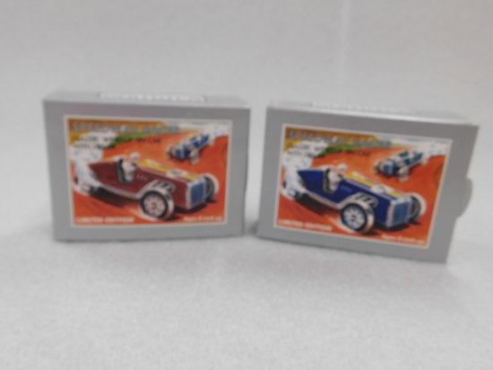 (2) SCHYLLING LIMITED EDITION CLASSIC WIND-UP TIN CARS W/ DRIVERS - NIP