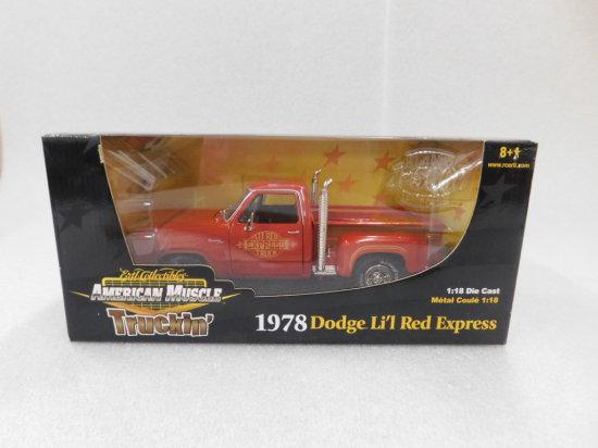 "1:18 SCALE ERTL AMERICAN MUSCLE 1978 DODGE ""LI'L RED EXPRESS"" NIP"