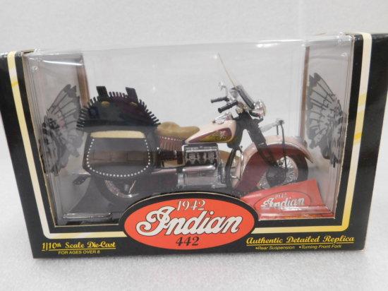 1/10 SCALE TOOTSIE TOY 1942 INDIAN 442 MOTORCYCLE NIP