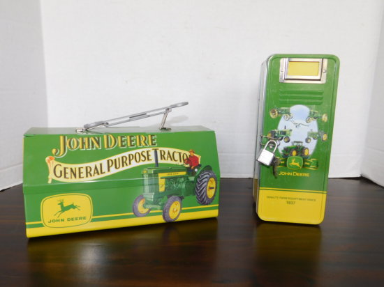 JOHN DEERE TIN TOY TOOL BOX & COIN BANK W/ PADLOCK