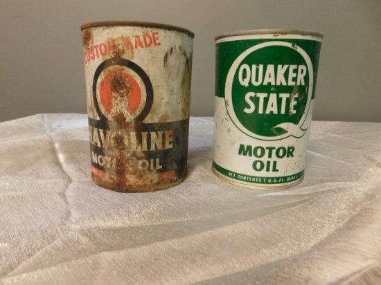 QUAKER STATE & HAVILAND OIL CANS