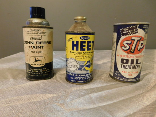 (3) VINTAGE AUTOMOTIVE PRODUCT CANS - HEAT, JOHN DEERE PAINT & STP