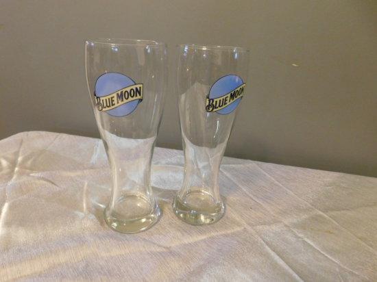 (2) BLUE MOON BEER GLASSES