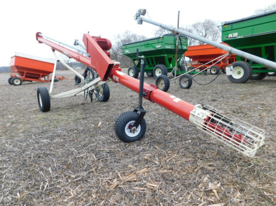 FARM KING 8X31 TRUCK AUGER W/ 7 1/2HP ELECTRIC MOTOR & DOLLY WHEEL JACK