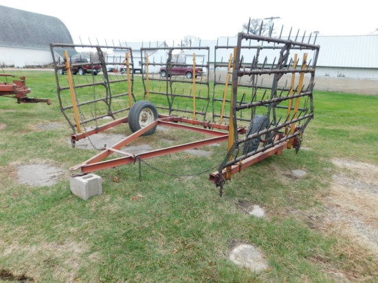 LINDSAY 24FT 4 SECTION HARROW W/ CART