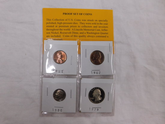 4 OLD PROOF COINS