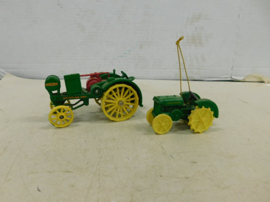 ERTL 1/32 JOHN DEERE WATERLOO BOY & 1/64 JOHN DEERE TREE ORNAMENT
